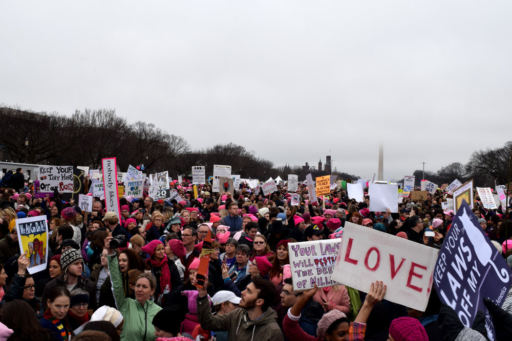 The Washington Monument covered in fog and crowds of people in pink pussy hats and signs saying LOVE at the Women's March on Washington