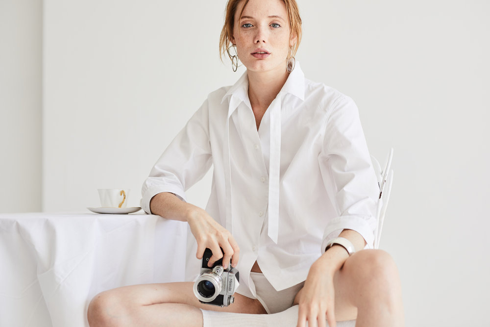 Preposition white shirt Grammar NYC sustainable fashion organic cotton