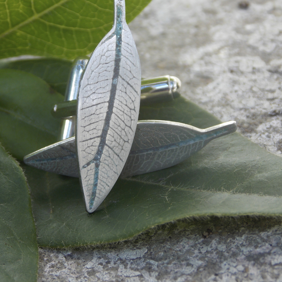 Leaf shape cufflinks blue enamel vein.jpg