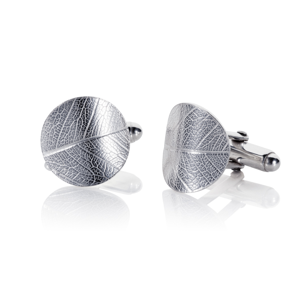 shallow convex dome cufflinks with intricate detailed leaf print