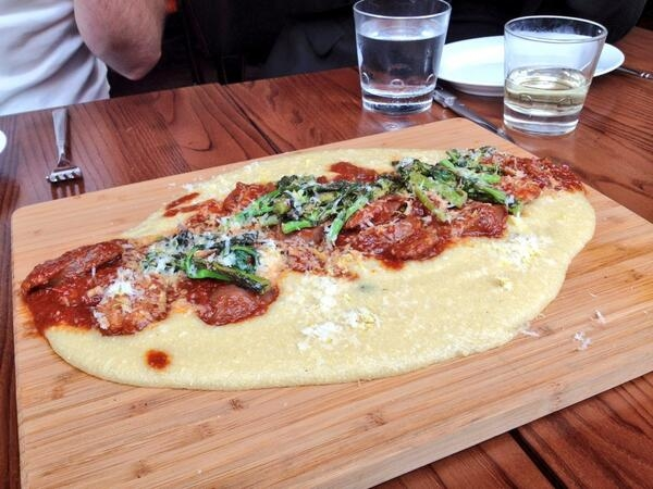 Sausage and Broccoli Rabe Polenta at Casa Luca