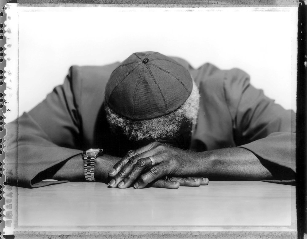 Bishop Desmond Tutu at the Truth Commission headquarters, Cape Town, South Africa 2000.