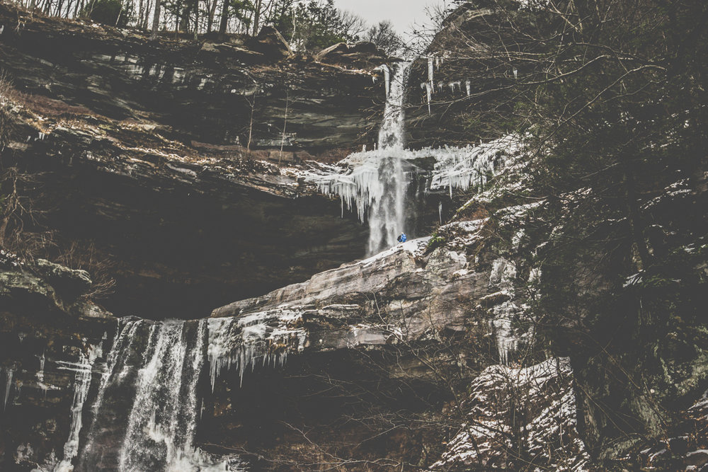 Catskills shots in winter. Mountain, Snow, Waterfall, cinematic style.