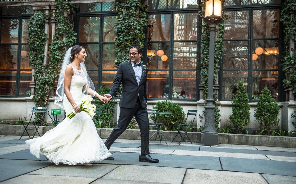 Lauren & Venkat wedding by Unveiled-Weddings.com @BryantParkGrill by www.Unveiled-Weddings.com #BryantParkGrill #BryantparkHotel #NewYorkWedding #WeddingDress #NYPL #BryantParkNYC