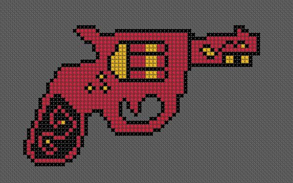 Mexican revolver korsstygn