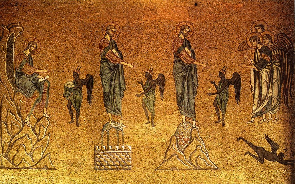 A 12th-century mosaic depicting the 3 temptations of Christ.