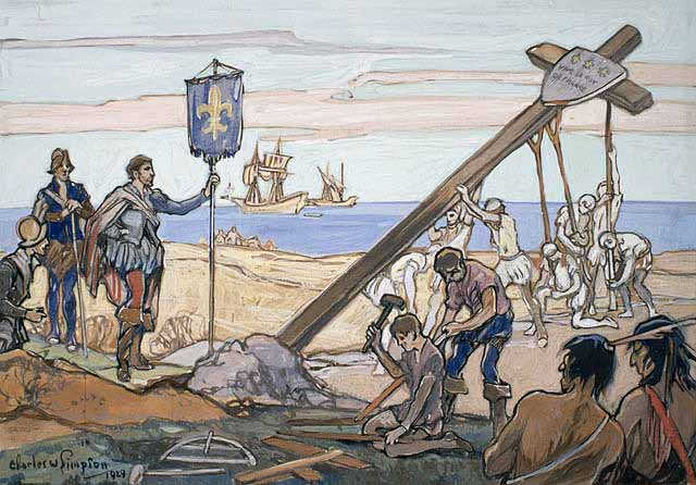 ....Jacques Cartier érigeant une croix à Gaspé en 1534. Crédit: Walter Baker, Bibliothèque et archives Canada..  Jacques Cartier planting a cross in Gaspé in 1534. Credit: Walter Baker, Library and Archives Canada ....