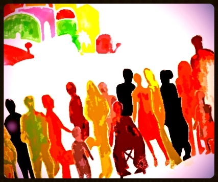 ....Tableau de Martin Bisson, évoquant la foule se rendant à Bethléem pour le recensement, tout comme Marie et Joseph. Symbole de la famille des peuples. .. Illustration from Martin Bisson, evoking the crowd on its way to Bethlehem for the census, as were Mary and Joseph. Symbol of the family of peoples . ....