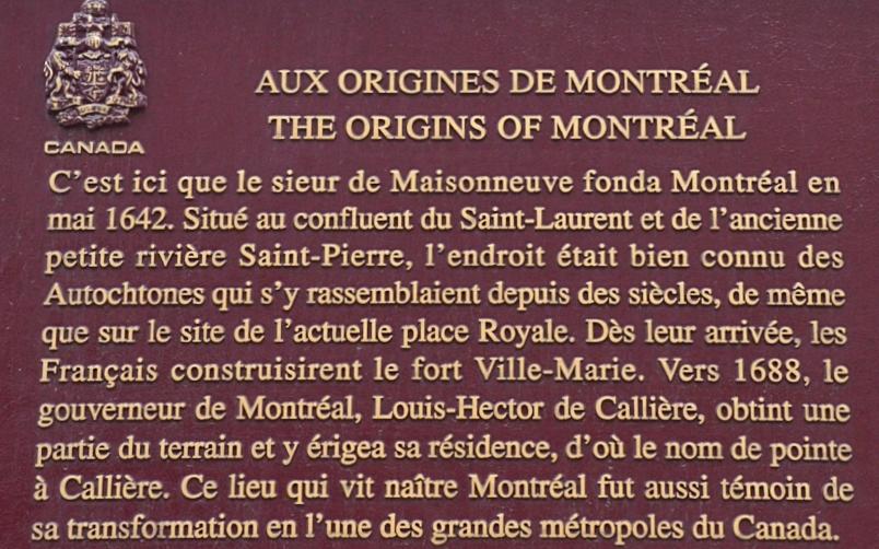....Plaque commémorative, à l'emplacement de l'actuel musée Pointe-à-Callière, site d'archéologie et d'histoire de Montréal. .. Commemorative plaque at the site of the current Pointe-à-Callière Museum, Archaeological Site and history of Montreal. ....