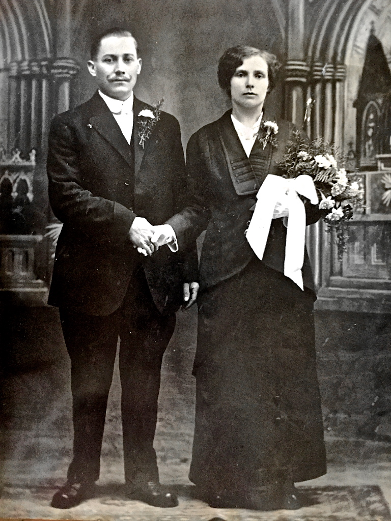 My great grandparents displaying how not to prepare for your wedding day couple portraits.