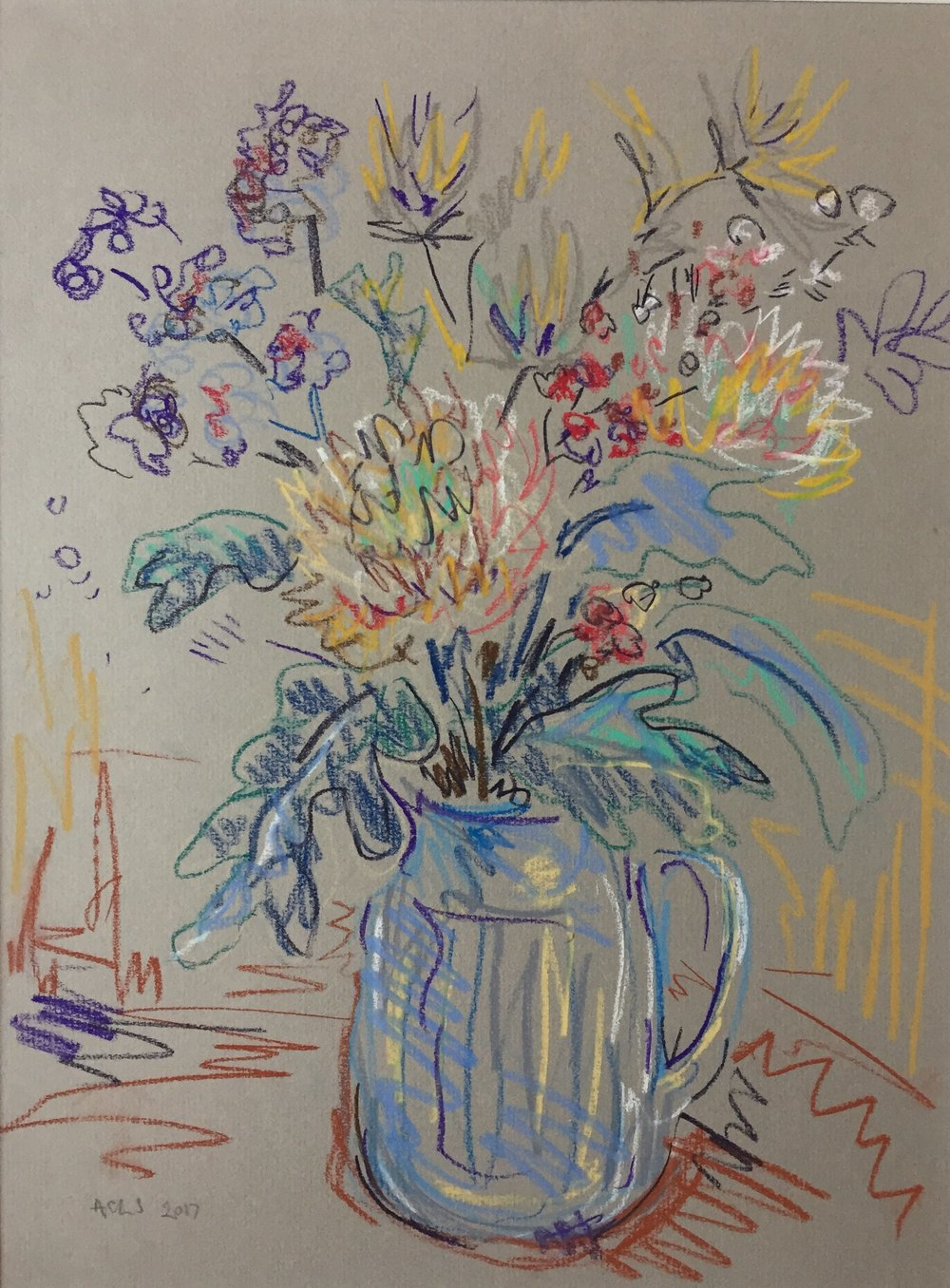 Flowers in blue jug.JPG