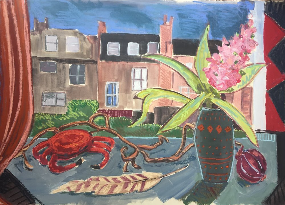 Hyacinth crab and studio view.JPG