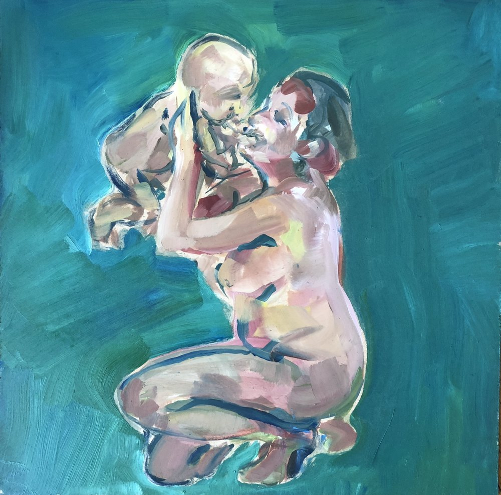 Crouching with baby on green, oil on board, framed 43x43cm £310