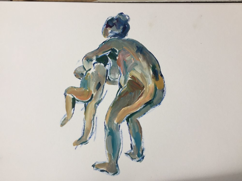 Mother and child lifting, oil on paper, framed, 41x41cm £275