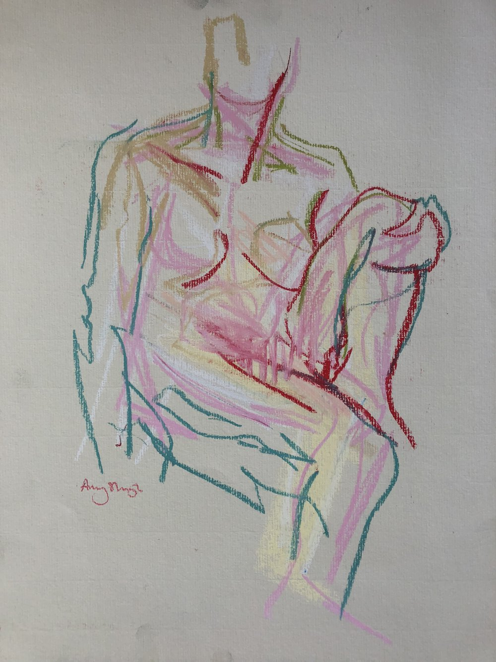 Pink nude, pastel on paper, framed, 40 x 35cm £250