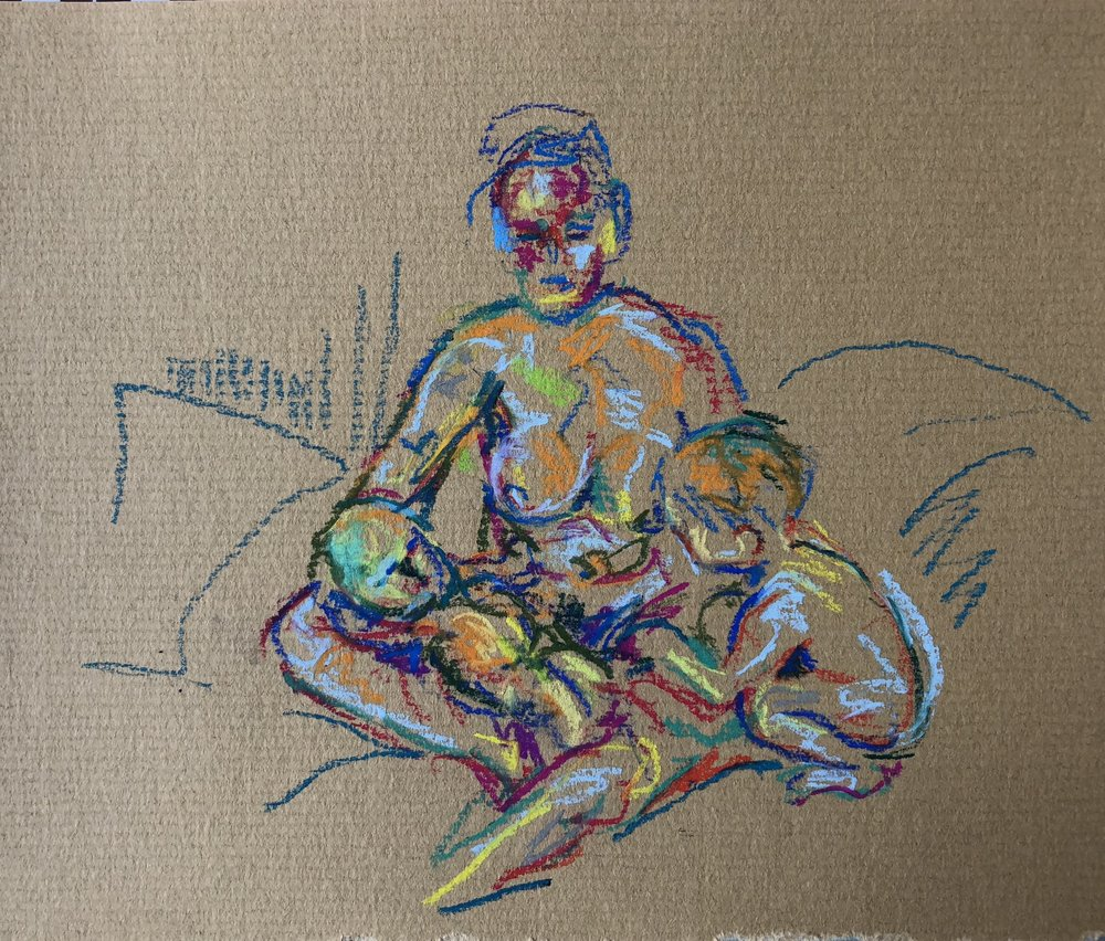 Seated with newborn and crouching toddler, pastel on paper, framed 28x32cm £170