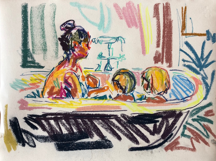 In the bath 4, pastel on paper, 25x35cm framed £245