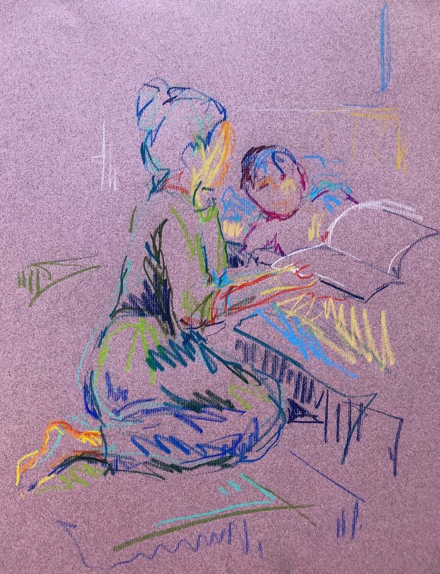 Bedtime reading, pastel on paper, 52x44cm framed £265