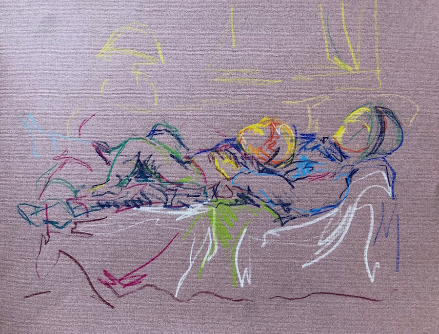 Mother and child reclining, pastel on paper, 35 x 45cm framed £290