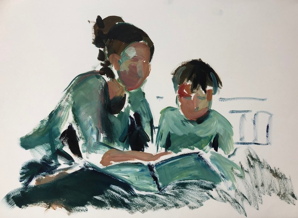 Reading 1, oil on paper, framed, 45x60cm, £460
