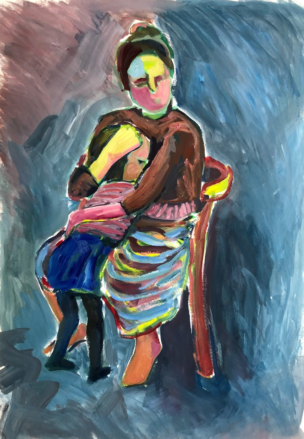 Hug 1 (on Blue), oil on paper, framed 65x51cm £595