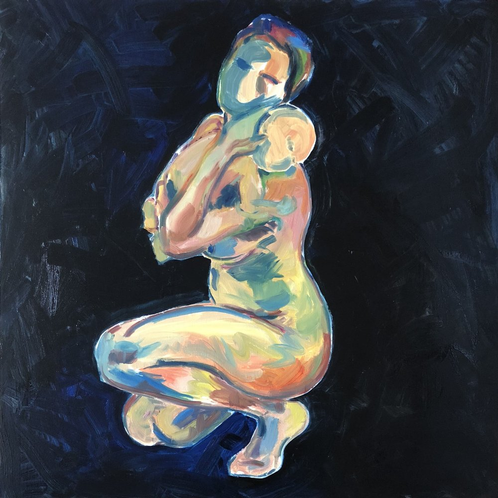 Kneeling with newborn, oil on canvas, 90x90cm unframed £620