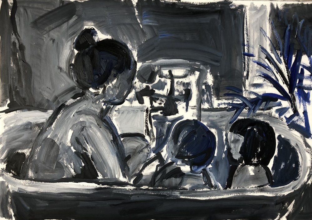 In the bath 3 (black), oil on paper, framed 62x79cm £595