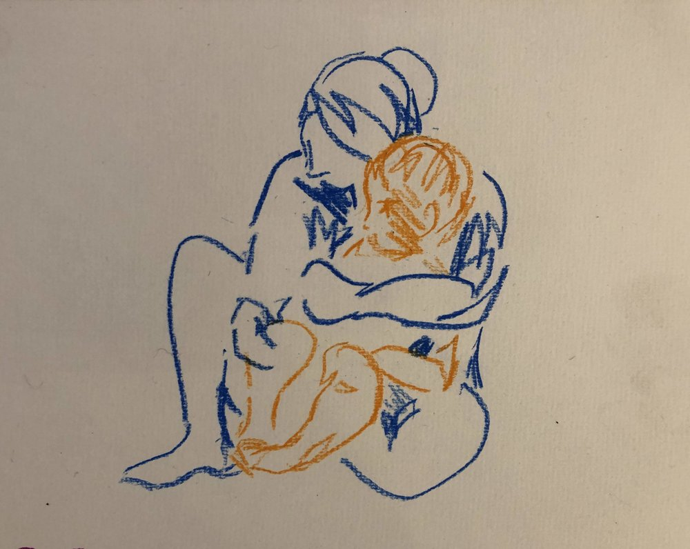 Embrace 4 (in blue and orange), pastel on paper, framed 25x35cm £220