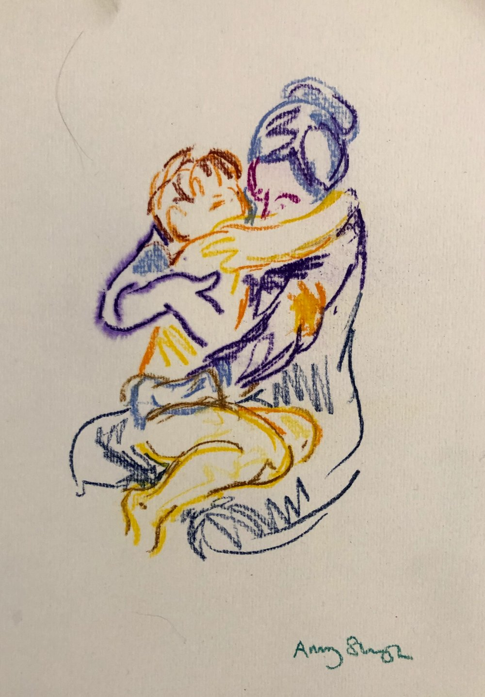 Embrace 6 (in purple and yellow), pastel on paper, 30x20cm framed £200