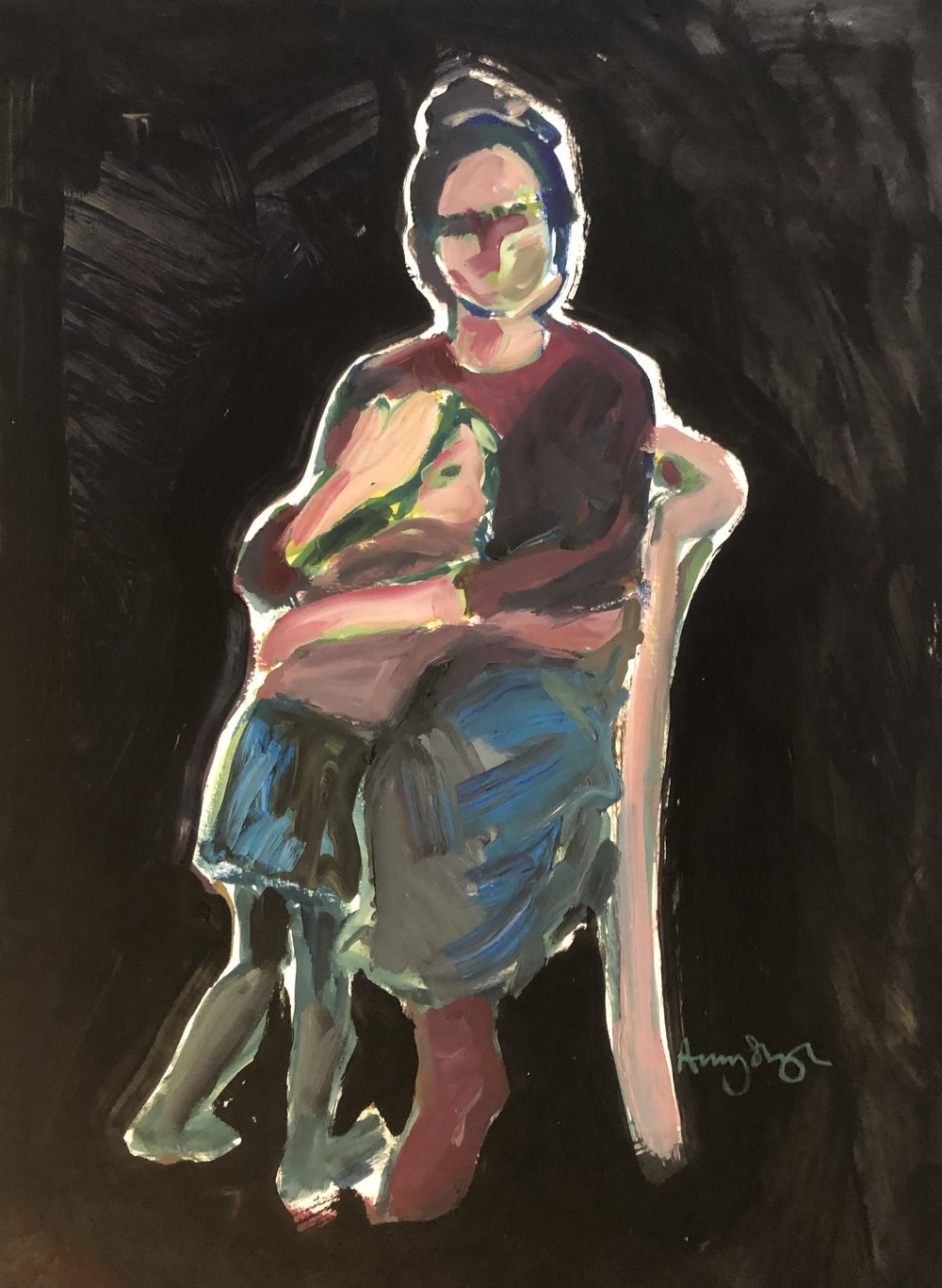 Embrace seated on black, oil on paper, framed 60x40cm £575