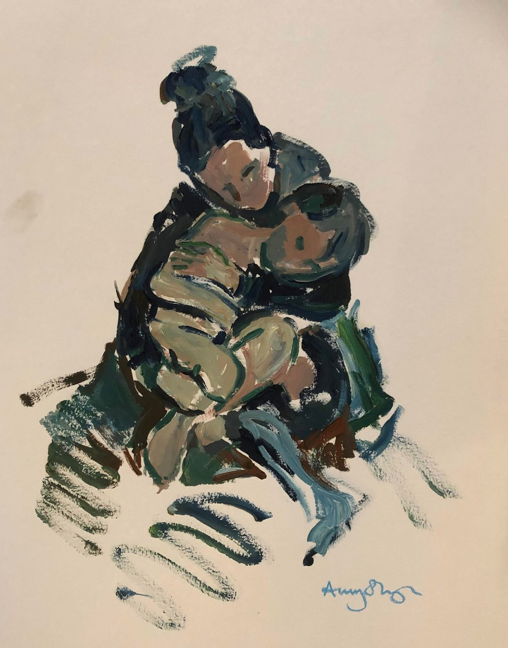 Hold, mother and son, oil on paper, 44x34cm framed £240