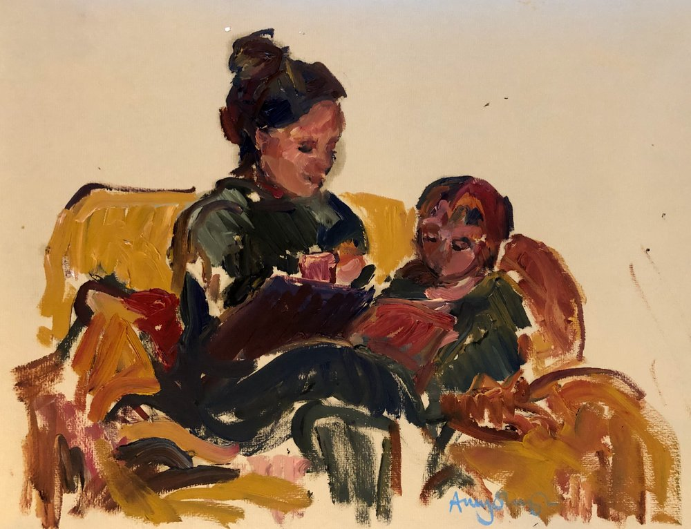 Reading on the sofa, oil on paper, framed 30 x 40cm £275