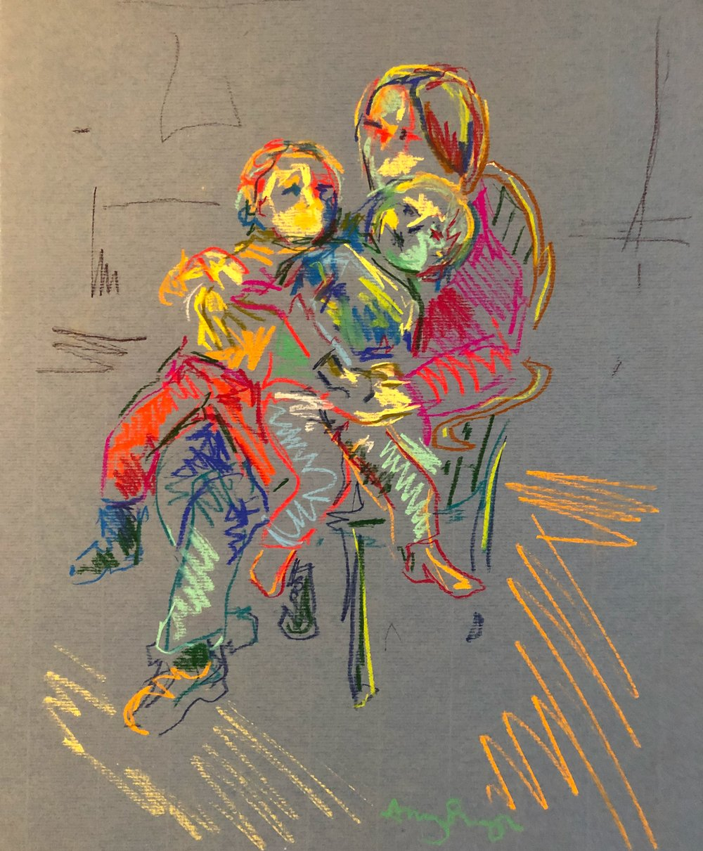 Mother with 2 boys on chair, (firelight), pastel on paper, framed 40x50cm £280