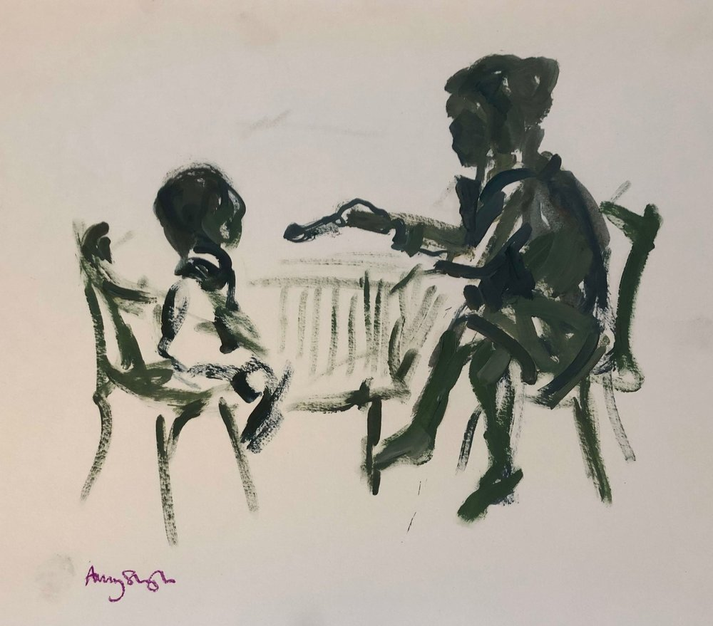 Silhouette of suppertime, oil on paper, 39x42cm framed £230