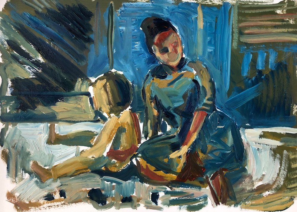 Mother and child with lego, oil on paper, framed £420