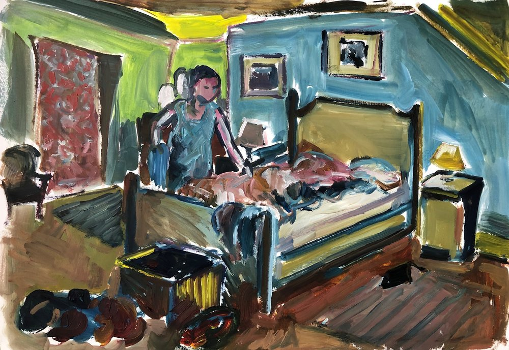 Bedroom, oil on paper, 40 x 50cm unframed £500