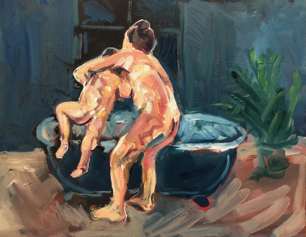 Into the bath (blue room), oil on canvas, 44 x57cm £520