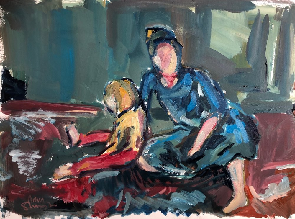 Mother and child with lego (blue and red), oil on paper, unframed 20 x 30cm £400