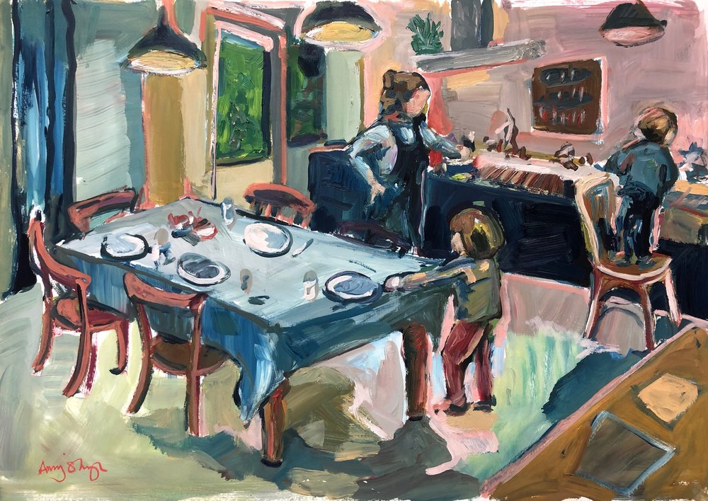 Laying the table, oil on paper, unframed 40x50cm £500