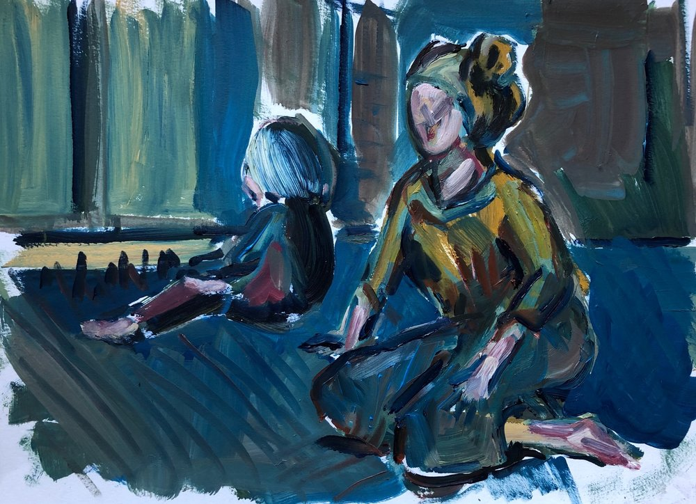 Mother and child, twilight, oil on paper, unframed 20x30cm £395