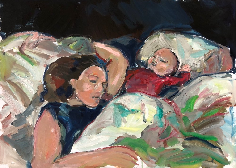 Sleep, arm raised 2, oil on paper, unframed 40x50cm £500