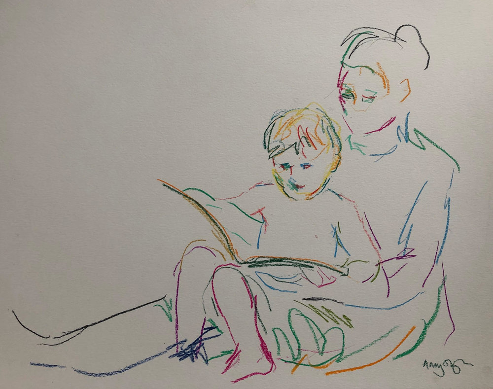 Reading 2, pastel on paper, framed 55 x69cm SOLD