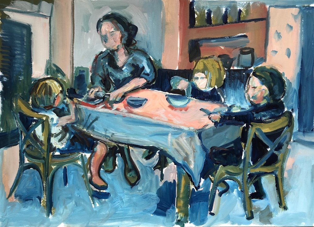 Suppertime in blue and pink, oil on paper, unframed 40 x 50cm £540