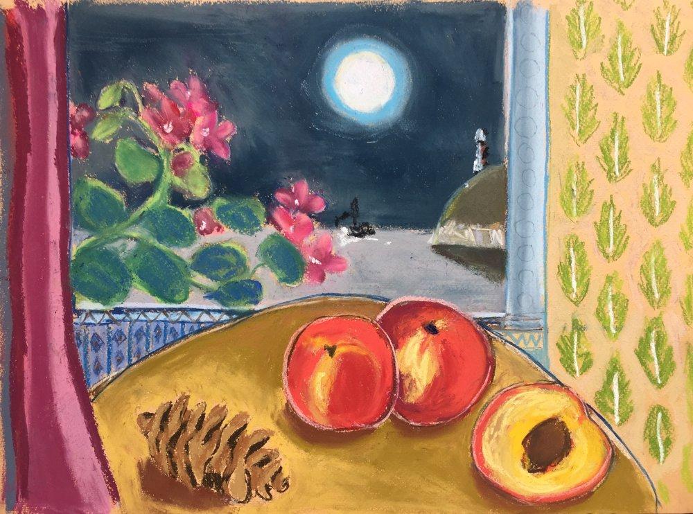 Peaches and pine cone.JPG
