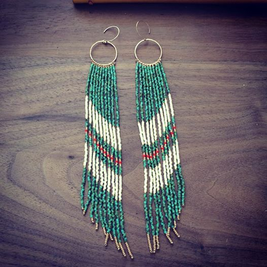 Turquoise, Coral, and Butter Yellow fringe earrings. $225