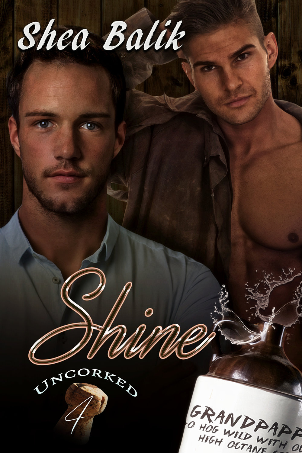 Shine - Shine was over people thinking because he had a southern accent, and made moonshine, that he was a hillbilly redneck with no education. Sure, he occasionally liked to fuck with them and spout out his grandpappy's sayings, like every dog should have a few fleas, but that didn't make him dumber than a box of rocks. So, when he met a man who made his heart race and his mouth go dry with the thought of licking every inch of his body, then instantly put him down because he was making moonshine instead of wine, Shine dared him to try and drink with the big boys.Montague knew better than to take the challenge to drink the moonshine Shine was offering, but he refused to be insulted by some hick from this small, backwater town. The fire that ignited in his stomach and burned a path up his throat, making him want to cry for his mommy, told him just how stupid he could be. Fucking pride. If Shine didn't get that smirk off his face at Montague's reaction to the battery acid he called alcohol, Montague was going to punch him in the mouth. Or kiss him. It was a tough call to make.There is a fine line between love and hate, especially when alcohol is involved. Then again, it might take a little liquid courage to drop their defenses enough to discover their passion for each other.