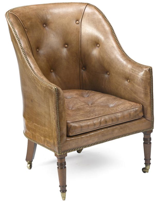 George III leather upholstered mahogany library chair.jpg