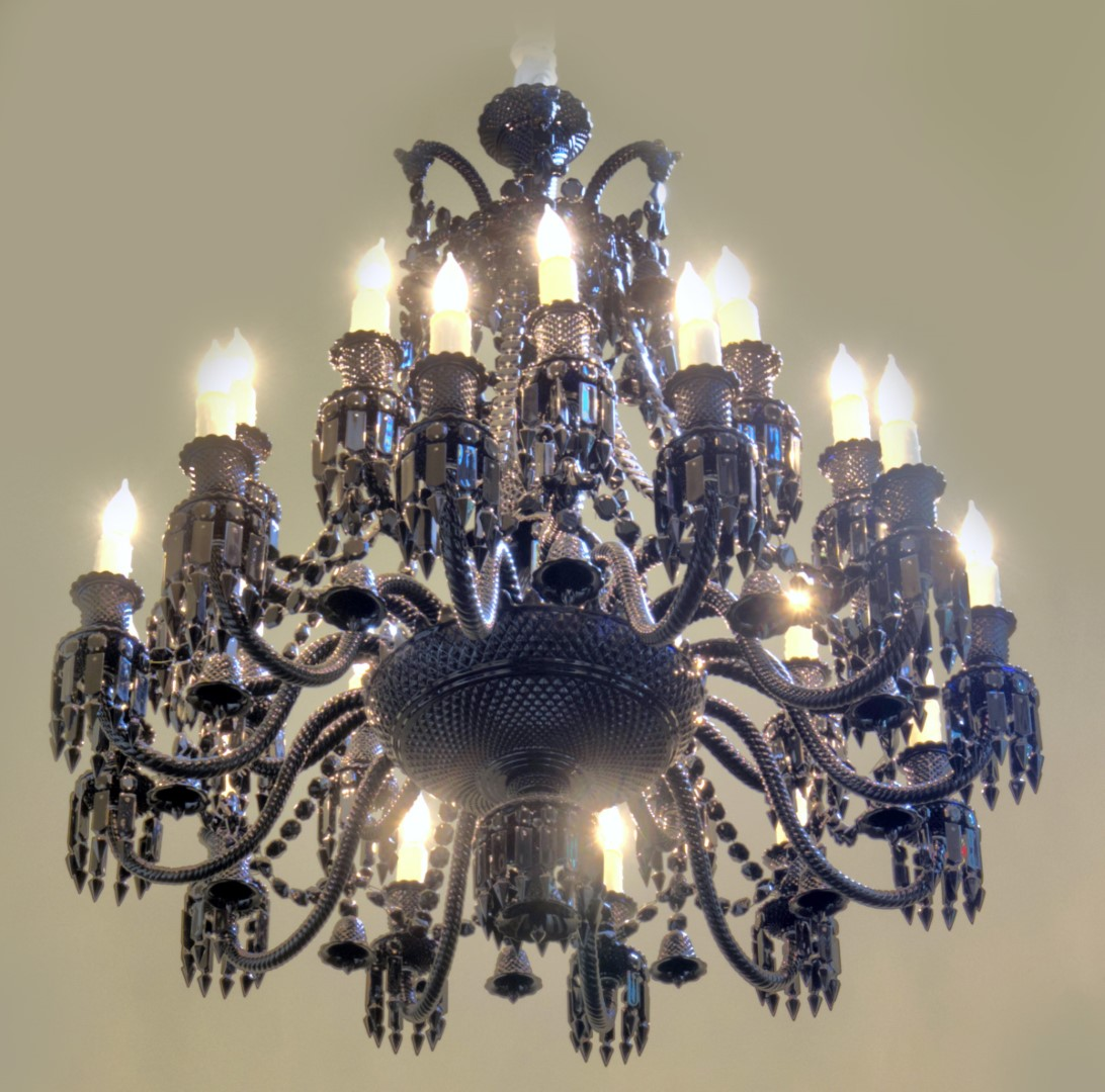 24 Light Black Baccarat Crystal Zenith Chandelier By Philippe Starck