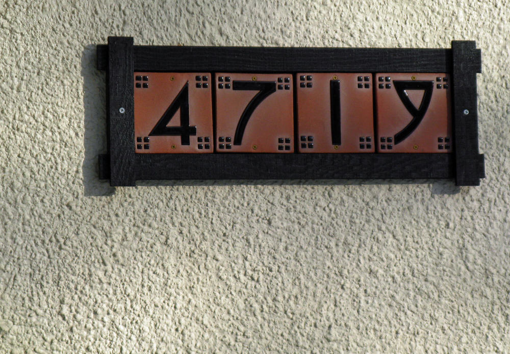 Craftsman House Numbers in Mission Frame