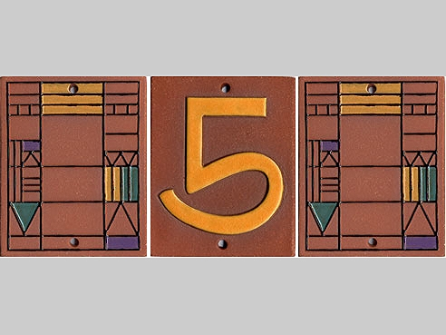 Arts and Crafts House Number with Accent Tiles